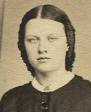 CIVIL WAR ERA CDV WITH TAX STAMP. PALE EYED WOMAN IN RUFFLE SLEEVES. PHILA. PA