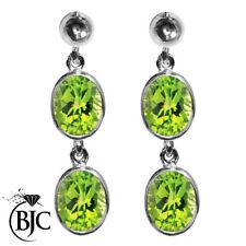 Butterfly Fastening White Gold Peridot Fine Earrings