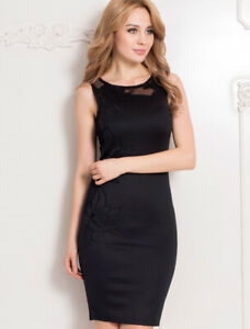 SEXY LADY BLACK EMBROIDERED BODYCON PARTY PENCIL DRESS SIZE M/8 UK