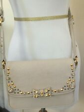 MIU MIU SMALL LEATHER HANDBAG WITH CRYSTALS AND GOLD AND SILVER STUDS