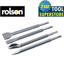 Rolson 250 mm 4pc SDS Set Scalpello Piatto Punto Groove SGORBIA Martello Trapano Kit