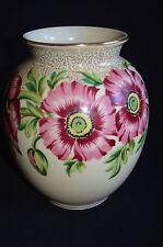"""Vintage German ceramic porcelain Poppy vase urn Handmalerei (handmade) 7.5"""" tall"""