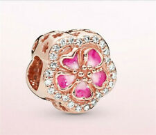 Rose Gold European CZ Charm Pink Flower Spacer Beads Fit Necklace Bracelet DIY