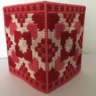 Handmade Plastic Canvas Tissue Box Cover Red QUILT Topper Boutique NEW Gift Idea
