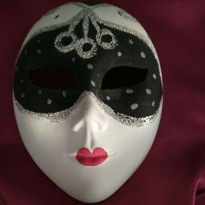 Ceramic Masquerade Mask wall hanging Italian hand painted 15x11cm