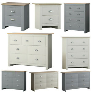Traditional Shaker Style Bedside & Chest of Drawers Grey & Cream Light Oak Top