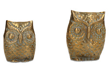 2 x vintage brass owls