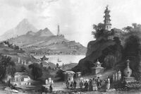 China WEST LAKE TEMPLE THUNDERING WINDS LEIFENG PAGODA, 1842 Art Print Engraving