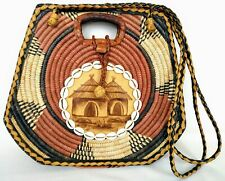 Vintage Woven Sisal Purse African Leather Handbag Round Ethnic w Hut & Seashells