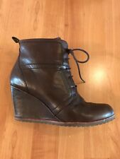 Biala Alyssa Brown Wedge Lace Up Ankle Boots Leather Euro Size 38 M - US 7.5