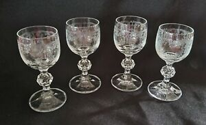 Bohemian Lead Crystal Cascade Cordial Stem Glasses w Etched Pattern - Set of 4