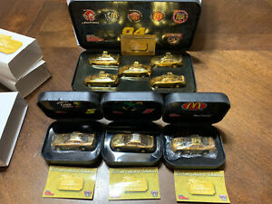 Lot of 4-Racing Champions NASCAR 24K Gold Race Cars in Cases  1:64