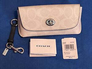 Coach Sunglass Case Clip On 73639 White Leather Silver Tone Hardware New!