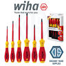 Wiha 25477 6 Piece VDE 1000v Slot/Pozi Softfinish Screwdriver Set PZ1 PZ2 Flat