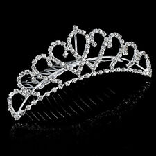 Prom Wedding Flower Ladies Girls Rhinestone Silver Tiara Crown Hair Comb