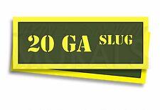 "20 GA Slug Ammo Can Labels for Ammunition Case 3"" x 1"" sticker decals 2 PACK -AG"
