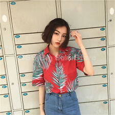 ulzzang leaves printed personality lapel short sleeve shirt women Blouse TOP