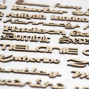 Script Names Letters Words MDF Personalised, Book Art Wooden Wood 20 fonts