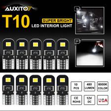 10Pcs AUXITO CANBUS T10 Pure Xenon White LED Interior Light bulb 192 168 194 W5W