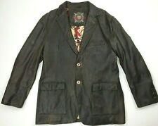 Robert Graham Vintage Men's Leather Bomber Jacket Size 46/56 Brown Long
