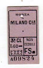 BIGLIETTO TICKET EDMONSON   MONZA  MILANO  CENTRALE   1-5-1952