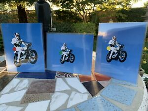 EVEL KNIEVEL HD XR-750 PRINT PROFESSIONALLY COLORIZED HARLEY AMF FLAT TRACK BELL