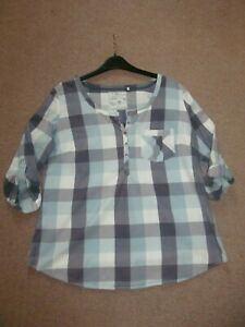 Fat Face ladies check long sleeve top size 14.