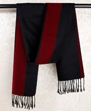 100% Silk brushed nap Scarf men Women Shawl Wrap Striped black red warm QS70-4