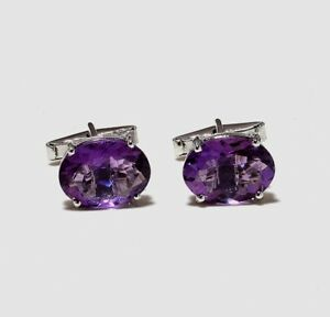 925 Solid Sterling Silver Natural Amethyst Gemstone Men's Cuff link Fine Jewelry