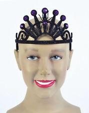 Halloween Black Tiara with Spider and Purple Gems Evil Queen Witch Vampire