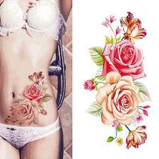 Fake Temporary Tattoo Sticker Pink Rose Flower Arm Body Waterproof Women Art HF