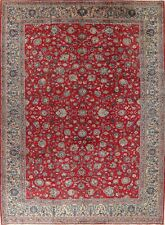 Vintage Floral Oriental Area Rug Wool Traditional Hand-Knotted Red Carpet 10x13
