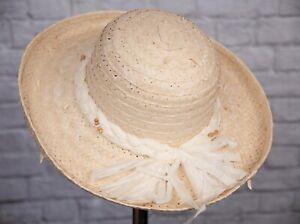 Vintage Hat Straw & Rafia 1990s Beaded Broad Brim Sun 56cm