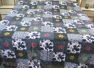 """Chain stitch embroidered handmade size  84""""x 96"""" quilt top"""