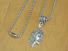 Jesus Face Pendant Charm Necklace Silver-Tone Christian/Religious/Catholic/Mens+