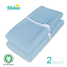 Baby Waterproof Changing Pad Cover Infant Sheet Organic Cotton 2 Pack Light Blue