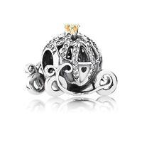 Genuine Pandora 14K Gold Charm Disney Cinderella Pumpkin Coach Bead 791573CZ