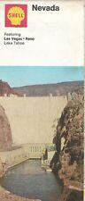 1972 SHELL OIL Hoover Dam Road Map NEVADA Las Vegas Lake Tahoe Reno Sparks