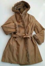 Luxury coat women with imitation fur . Brown