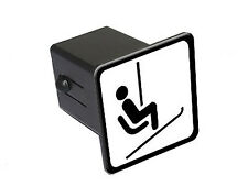 "Skiing Ski Chair Lift Sign - 2"" Tow Trailer Hitch Cover Plug Insert"