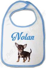 Bavoir Bébé Bleu Chihuahua avec Prénom Personnalisé -  chien chiot  naissance