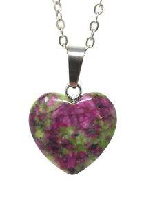 Created Ruby in Zoisite Lab Gems Gemstone Color Pink Watermelon Heart Necklace