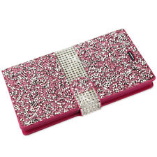 Cell Phones Cover Case Flip Wallet Diary  w/ Bling Crystal Diamond Rhinestone