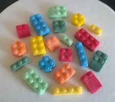 Handmade 100% edible LEGO type cake/cupcake toppers - assorted (48)