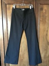 Alice + Olivia Black Trouser Size 4 Cotton Dress Pants Flared Boot Cut 34 inseam