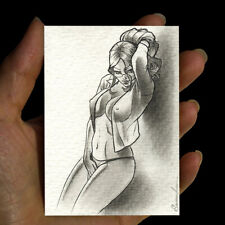 100% original pencil drawing sketch art MINIATURE picture woman portrait signed