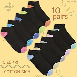 Ladies Sports Socks Black Trainer Liners Gym Breathable 10 Pairs Bundle Size 4-8