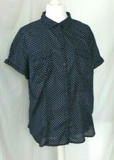 smart fitted shirt blouse size 18 navy white circles spots pockets BNWOT