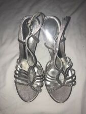 Michael Shannon Silver Open Toe Ankle Strap High Heels Crystals Size 7M