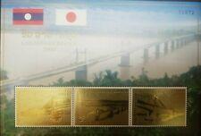 O) 2000 LAOS, LAOTIAN JAPANESE BRIDGE PROJECT, STAMPS IN GOLD, SOUVENIR MNH